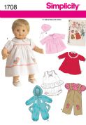 "1708 Simplicity Pattern: 1950's Vintage 38cm (15"") Baby Doll Clothes"